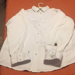 ROAR white embroidered button down